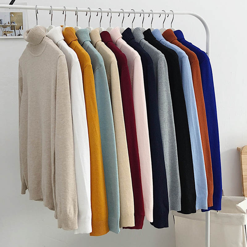Sweater Men Casual Solid Pullover Men Autumn Slim Fit Long Sleeve Elasticity Black Knitted Men's Turtleneck Sweaters