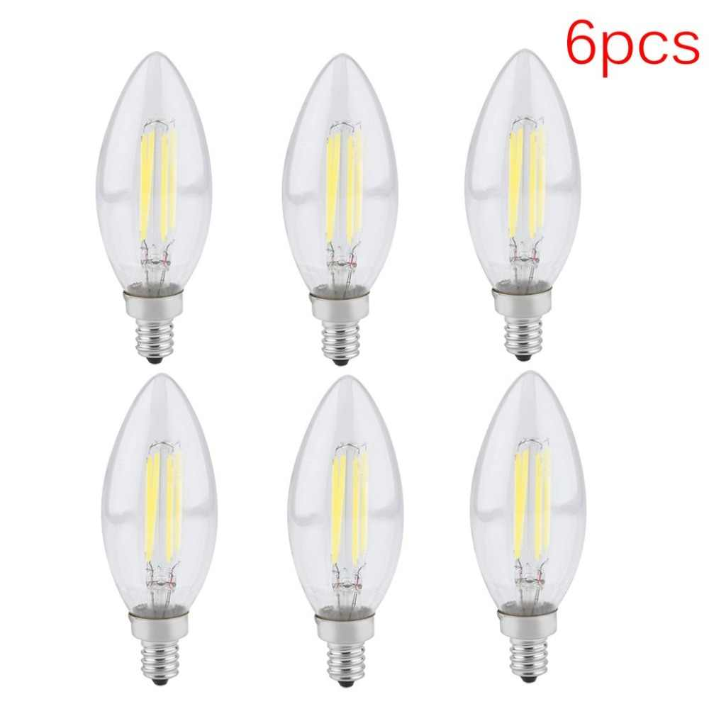 6pcs AC 110V 4W Light 5000K Daylight White Chandelier LED Filament Bulbs E12 Candelabra Lamp Home Decoration