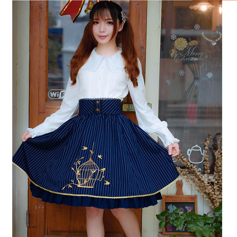 Lolita Skirts Classical Stripe Embroidery Cute Girl s Skirt Knee Length Short Skirts High Quality Princess