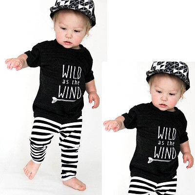 2pcs Newborn Toddler Kids Baby Boy Girl Clothes Cotton Short SleeveWildArrow T-shirt+Long Striped Pants Baby Clothes Set 0-18M summer 2017 newborn baby boy clothes short sleeve cotton t shirt tops geometric pant 2pcs outfit toddler baby girl clothing set