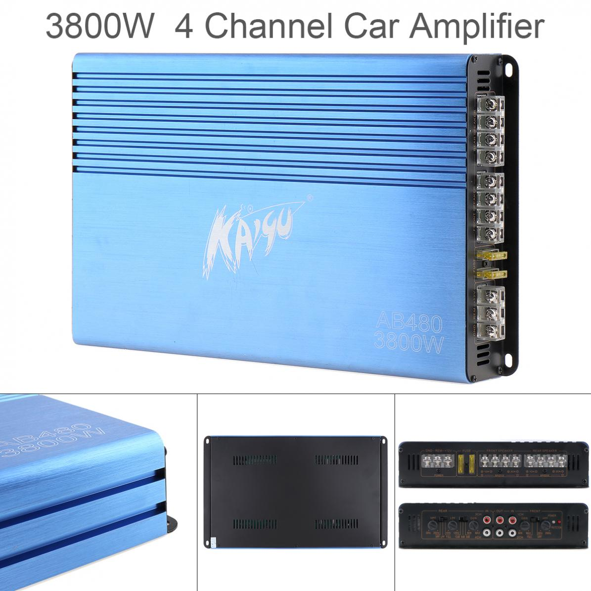 Universal 12V Digital 4 Channel Blue Aluminum Alloy High Power Car Stereo Amplifiers for Car / Home