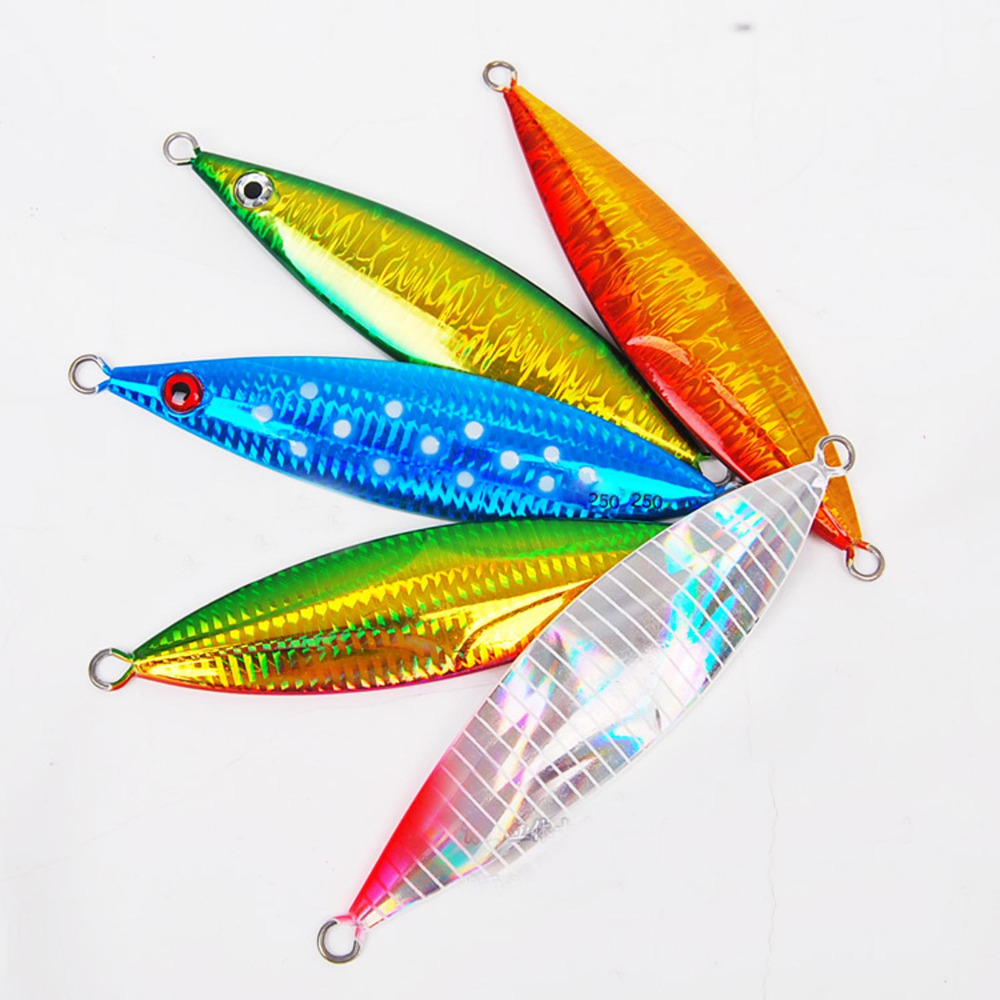 5PCS Deep sea  Slow Jig Fishing Jigging Spoon Lure Metal Jig Lure Jigbait spoon Spinner baits 80g 100g 130g 200g 250g