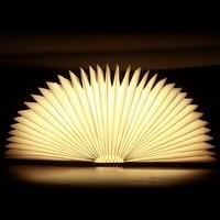 LED Wood Cover Book Light Table Lamp Bedside Desk Light Open Close USB Charge Best