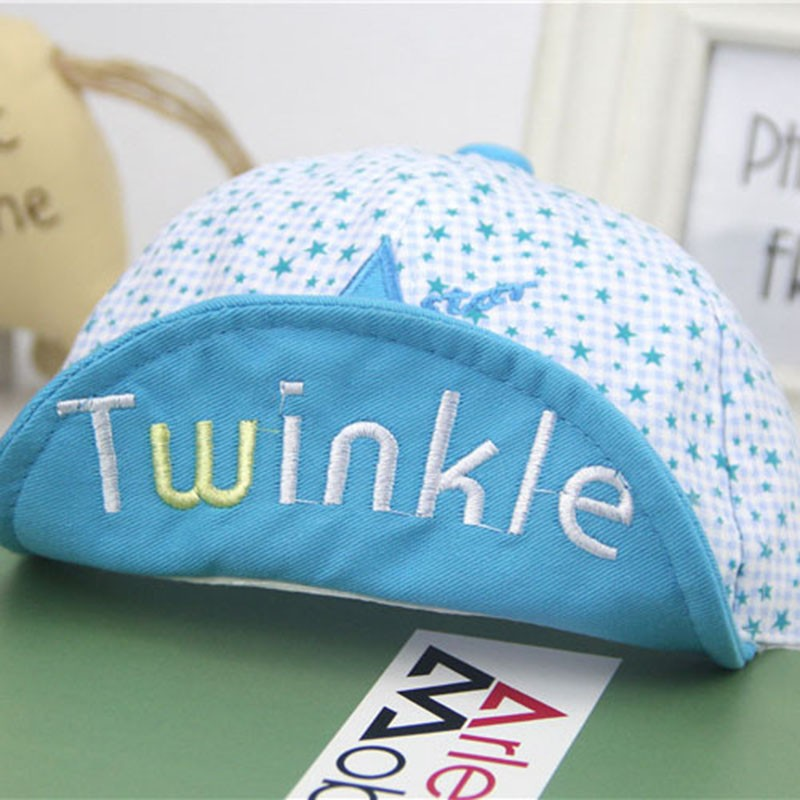 Close Up of Embroidered Twinkle and Star Baby's Baseball Cap - Brim Up, Light Blue