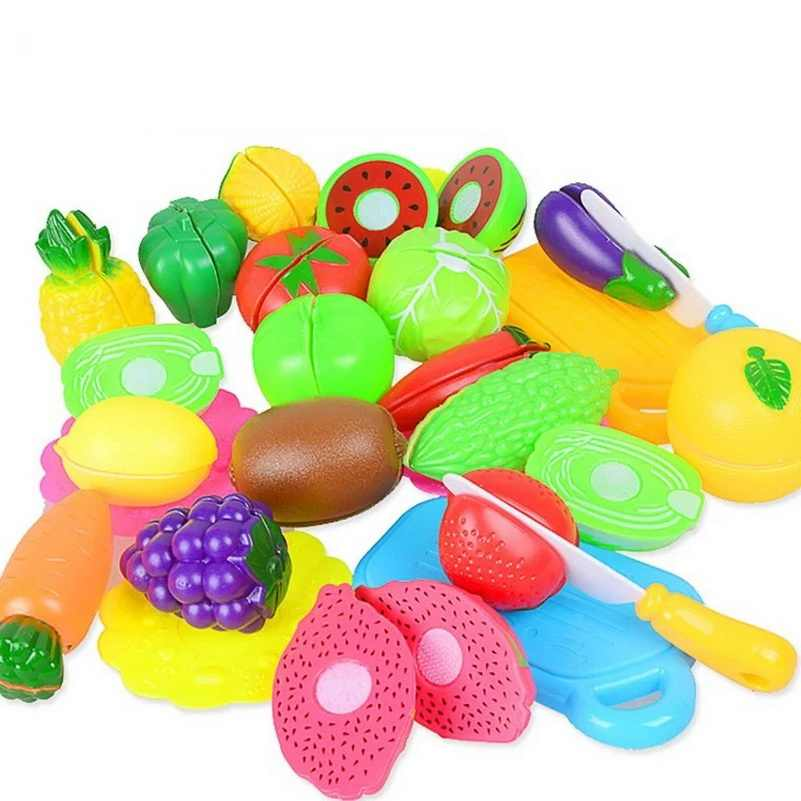 DIY Pretend Play Baby Kitchen Plastic Food Toy Set Cooking Cutting Fruit Children Kid Educational Toys For children Girls