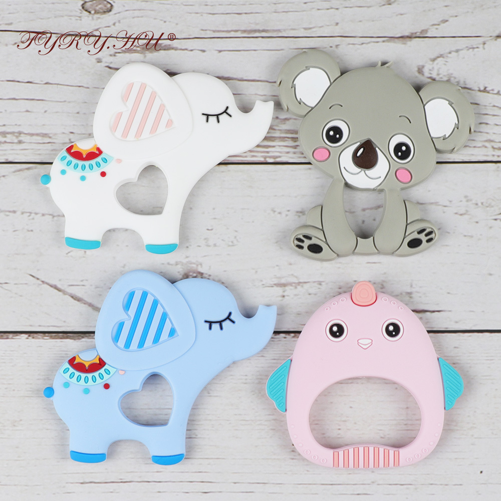TYRY.HU 10 Pieces Elephant Baby Teether Chew Jewelry Rodent Bebe Teething Toys Food Silicone Teething Soother