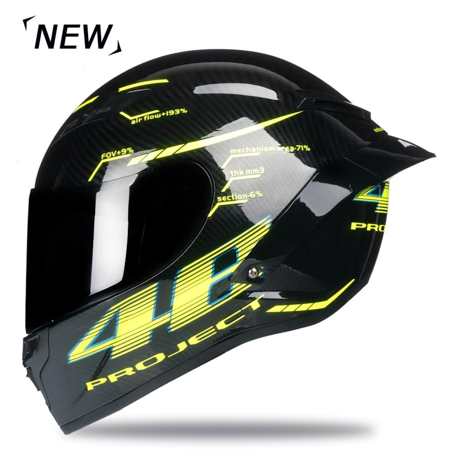 Casco de moto de fibra de carbono de cara completa casco profesional de carreras Kask DOT Arco Iris visera Motocross fuera de carretera - 2