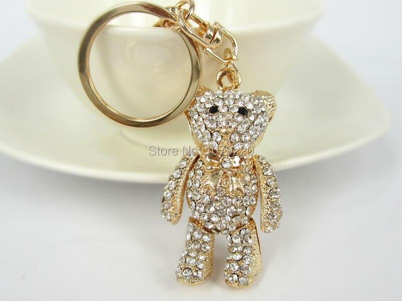 Zl медведь автомобиль брелок милый горный хрусталь кристалл подвески кулон ключ мешок цепь подарок