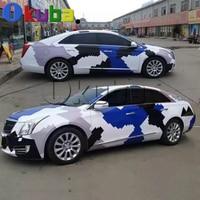 Blue Black White Arctic Snow Camo Vinyl Car Wrap Sticker Pixel Camouflage Car Sticker with air free 5m 10m 15m 20m