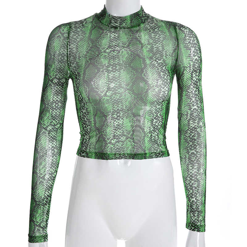 Darlingaga Повседневная Зеленая змея футболка с принтом для женщин сетчатый топ с длинным рукавом Прозрачный Змеиный женский топ с высоким вырезом укороченные топы