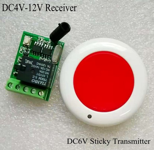 Emergency button Remote Control Transmitter Round Mini Sticky Wall Remote TX Receiver 4V 5V 6V 9V 12V 315 433 Wide Working Volt