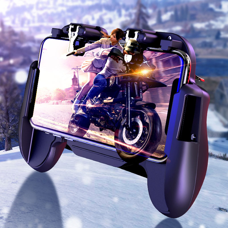 Image 2 - GamePad Pubg Controller Trigger Cooler Cooling Fire PUBG Mobile Game Controller Joystick Metal L1 R1 Trigger for IPhone Android-in Gamepads from Consumer Electronics