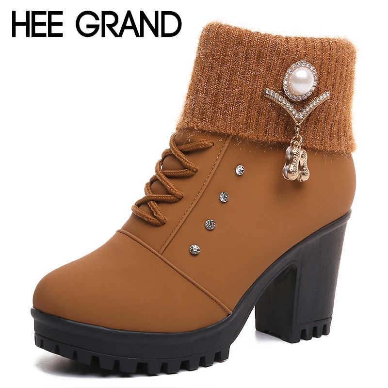 31786eb8d HEE GRAND/женские ботильоны на меху, Осенние замшевые ботинки на высоком  каблуке, женские