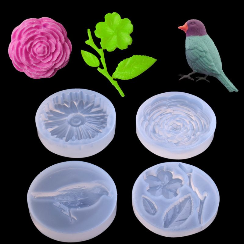 1pc 4 Styles Bird Flower Leaves Silicone Pendant Mold Resin Casing Craft Jewelry Making Tool
