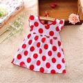 2016 verão vestidos da menina do bebê 0-2 anos vermelho dort infantil algodão regulares roupas sem mangas roupas infantis impressos casuais dress