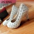 LIN REY Zapatos de Tacón Bombas de Flores de Encaje de Perlas Redondas Botines Toe Sólido Pricess Vestido Bridals Partido Zapatos de La Marca de Moda
