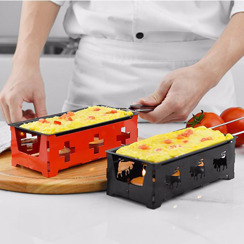 HADELI Swiss Cheese Roasters Practical Gadgets Wooden handle mini nonstick baking tray Cheese oven BBQ tools