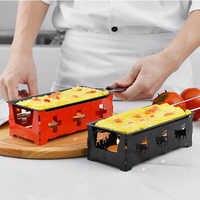 Rôtissoire à fromage suisse HADELI Gadgets pratiques poignée en bois mini plaque de cuisson antiadhésive four à fromage BBQ outils