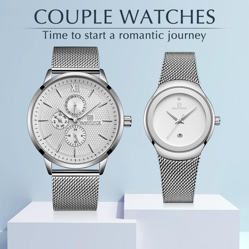 NAVIOFRCE Couple Watch for Men and Women Stainless Steel Band Waterproof Lover's Watches Fashion Casual Wristwatch Gifts For Se
