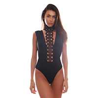 Almostlove1209 Black Bodysuit High Cut One-Piece Front Lace Up Swimsuit Bandage Thong Bathing Suit Women Maillot Femme Swimwear