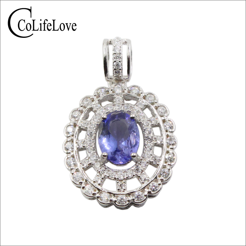 Elegant silver gemstone pendant 6 mm * 8 mm natural VS grade tanzanite necklace pendant solid 925 silver tanzanite pendant
