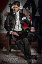 Custom Made Embroidery Groom Wear Tuxedos Mandarin Lapel Men's Suit Black Groomsman Wedding Prom Suits(Jacket+Pants)