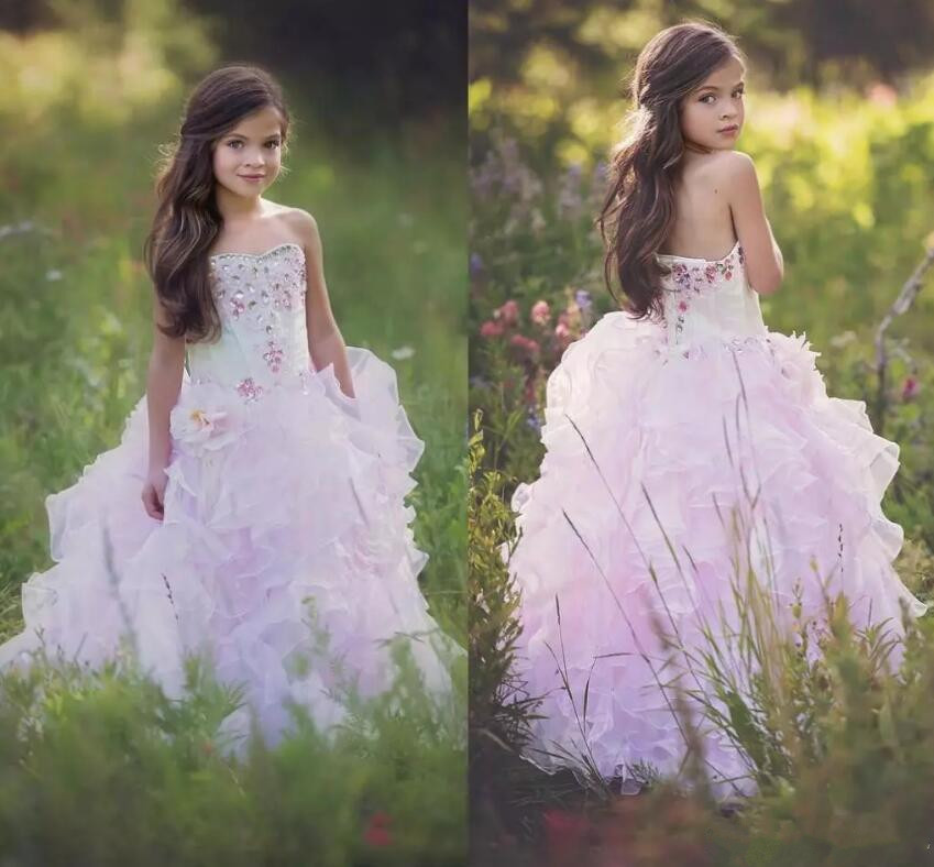 2018 New Sweetheart Flower Girl Dresses Tiered Ruffle Girls Crystals Rhinestone Pageant Gown For Kids Any Size ruffle trim tiered cami blouse
