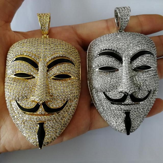 V for Vendetta Mask cz Pendent