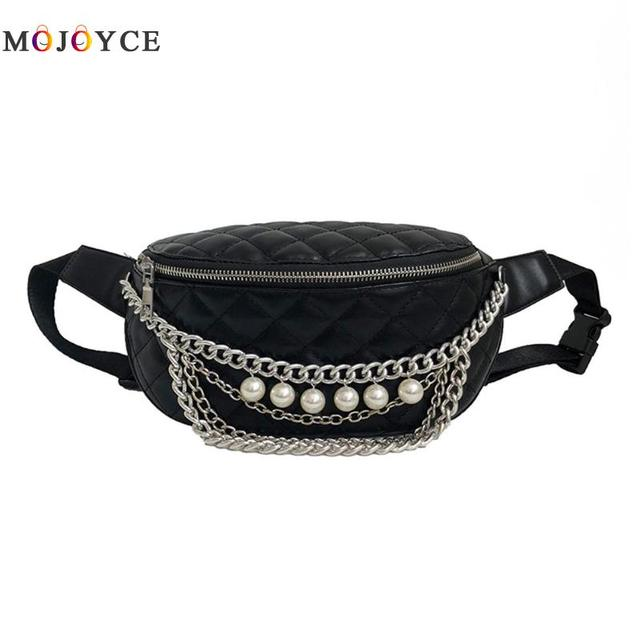 Luxury Brand Pearl Chains Checked PU Leather Waist Packs Women Casual Chest Belt Bags Ladies Fanny Pack