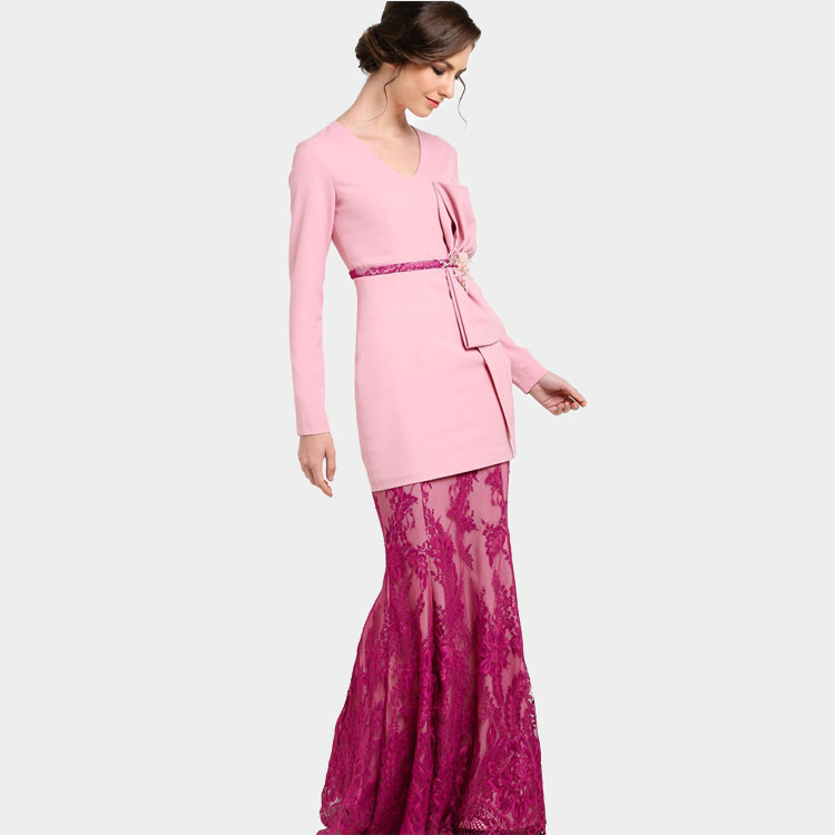 Advanced Customization Wholesale Middle East Muslims Women Fashion Ethnic  Elegant Floral Malaysia Lace Long Dress Baju Kurung-in Dresses from Women s  ... 8eec079df025