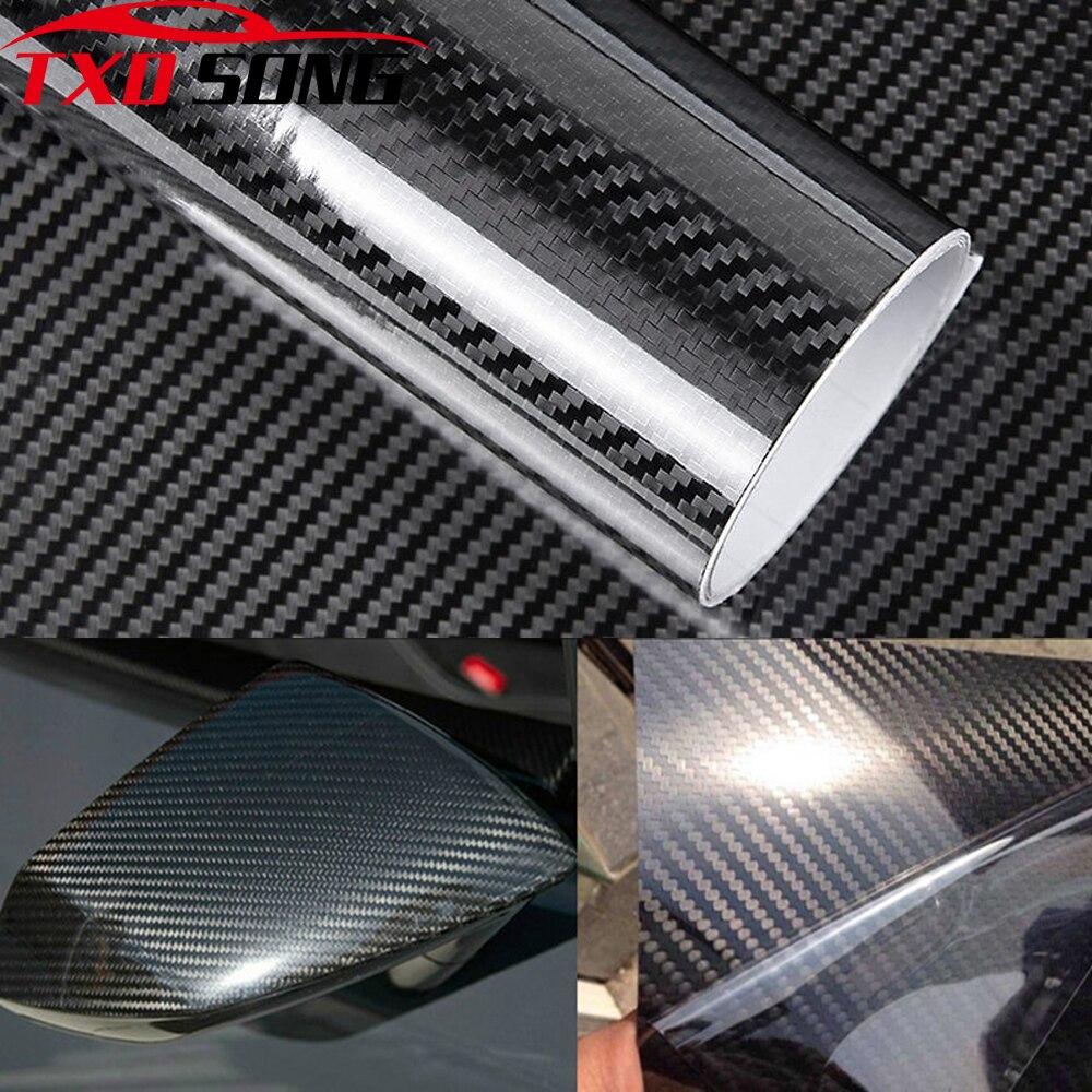 Car Styling 10/20/30CM*152CM Glossy Black 5D Carbon Fiber Vinyl Film Car Wrap With Air Free Bubble DIY Car Tuning Part Sticker