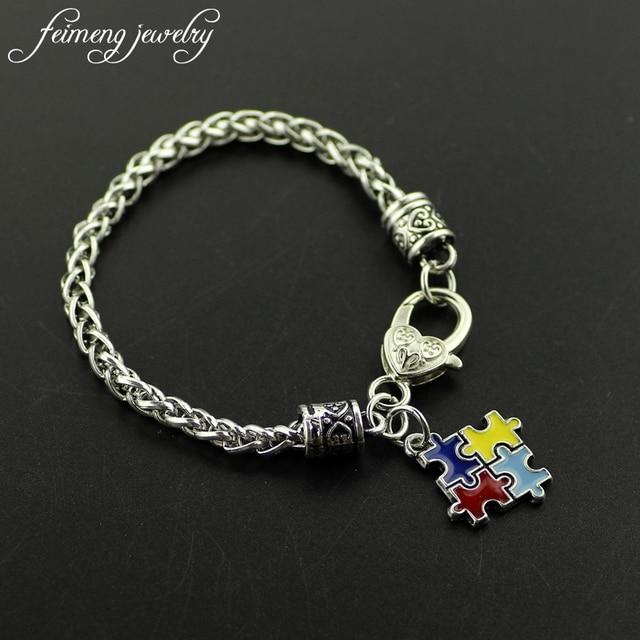 Feimeng Jewelry Fashion Bracelets Bangles Enamel Autism Awareness Puzzle Piece Autistic Bracelet Charm Lobster Claw