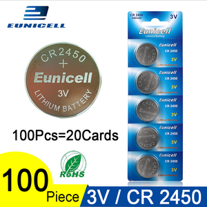 100 шт./лот Eunicell 350 мАч CR2450 CR 2450 ECR2450 KCR2450 5029LC LM2450 Кнопочная батарея для монет 3 в литиевые часы батареи
