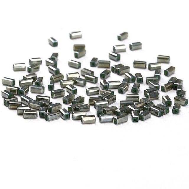 Perles de cristal gris foncé AB 50 pcs 2*4mm autriche perles de bijoux de forme carrée en cristal perles despacement en vrac C-3