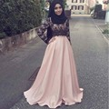 Modest Hijab Evening Dresses Pink Lace Muslim Evening Dress With Long Sleeves Arabic Women vestidos de gala jurken Cheap