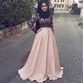 Modesto Vestidos de Noite Hijab Laço Cor de Rosa Vestido de Noite Muçulmano Com Mangas Compridas Árabe Mulheres vestidos de gala jurken Barato