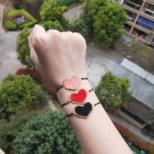 FAIRYWOO Girls Fashion Jewelry Heart Miyuki Bracelet Rope Drawstring Sweet Style Charm Bracelets For Women Ins Hot Sale Design