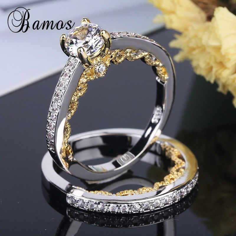 Bamos vintage prata & ouro cor anel de noivado conjunto requintado zircônia cúbica anéis de casamento para mulher luxo birthstone jóias
