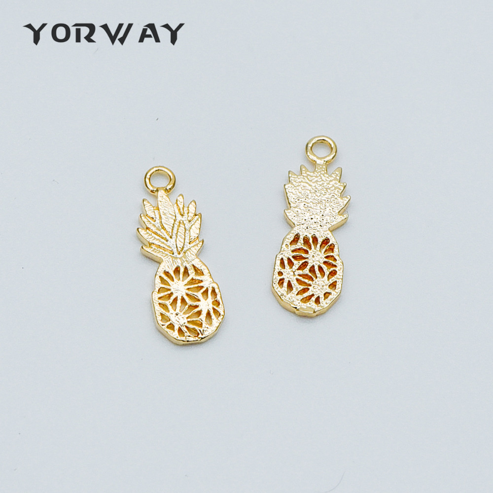 10PC Charms Gold Pineapple Plated Pendants Jewellery Making Finding Beads R18D