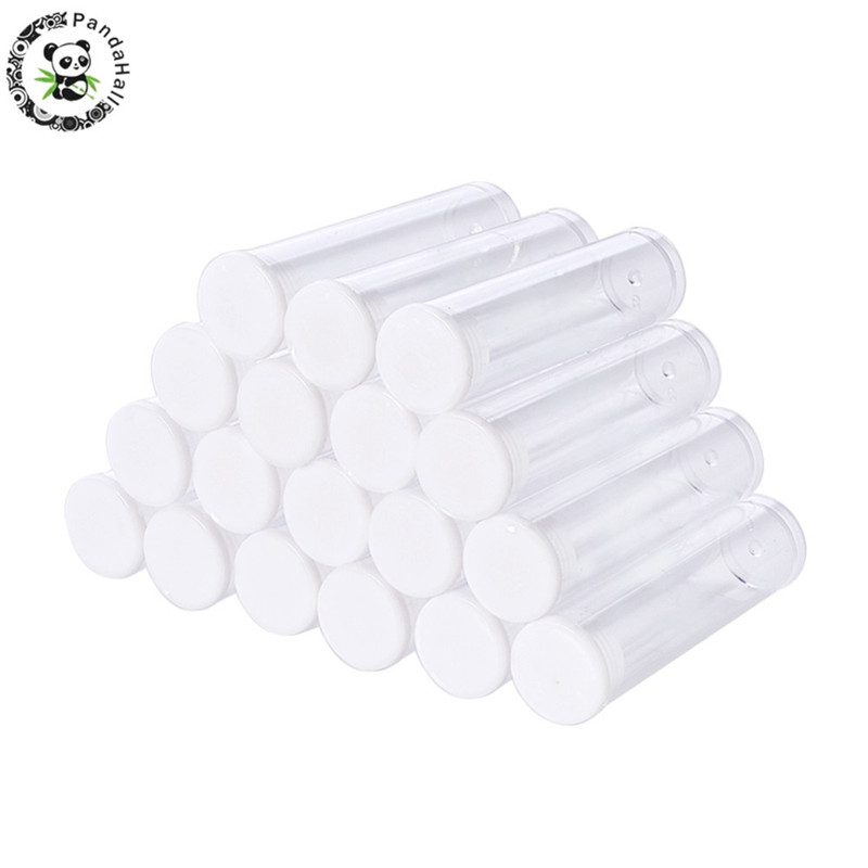 100 PCS Clear Plastic Tube Beads Containers Storage Jars Containers Bottles For Jewelry Packaging 55x15mm F70
