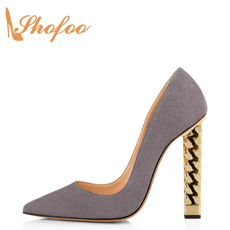 Grey Sky Blue Chain Gold Heel High Chunky Heels 12cm Evening Party Dress Pumps Shoes For Women Dance Sexy Luxury 2019 New Design