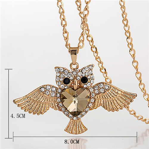 LNRRABC Women Sweater Chain Necklace Owl Design Rhinestones Crystal Pendant Necklaces Jewelry Clothing Accessories Drop Shipping 4