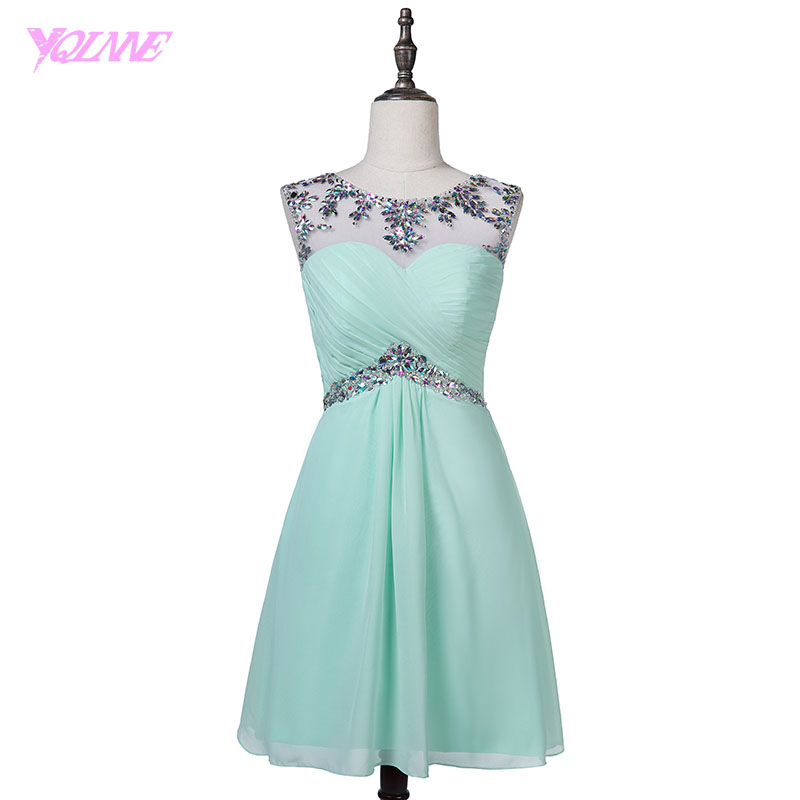YQLNNE Sexy Crystals Short Prom Dresses Mint Green Chiffon Knee Length Party Dress