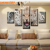 Unframed 5pcs African Leopard Canvas Print Painting Modern Animal Home Wall Art Picture For Living Room