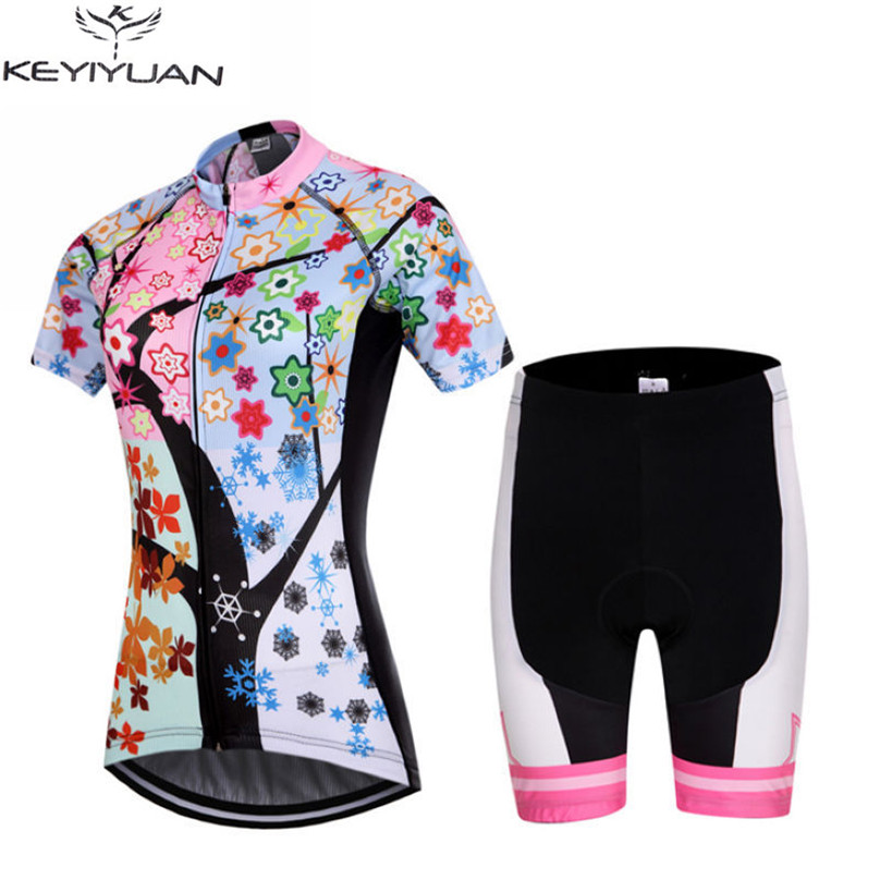 Roupa Ciclismo Women Short Sleeve Cycling Bike Jersey Set/Bike Clothing/Cycling Wear/Breathable Bicycle Sportswear Ropa Ciclismo new flowers skulls woman s bicycle jersey shorts suit bike bicycle short sleeve clothing set sportswear cycling clothes