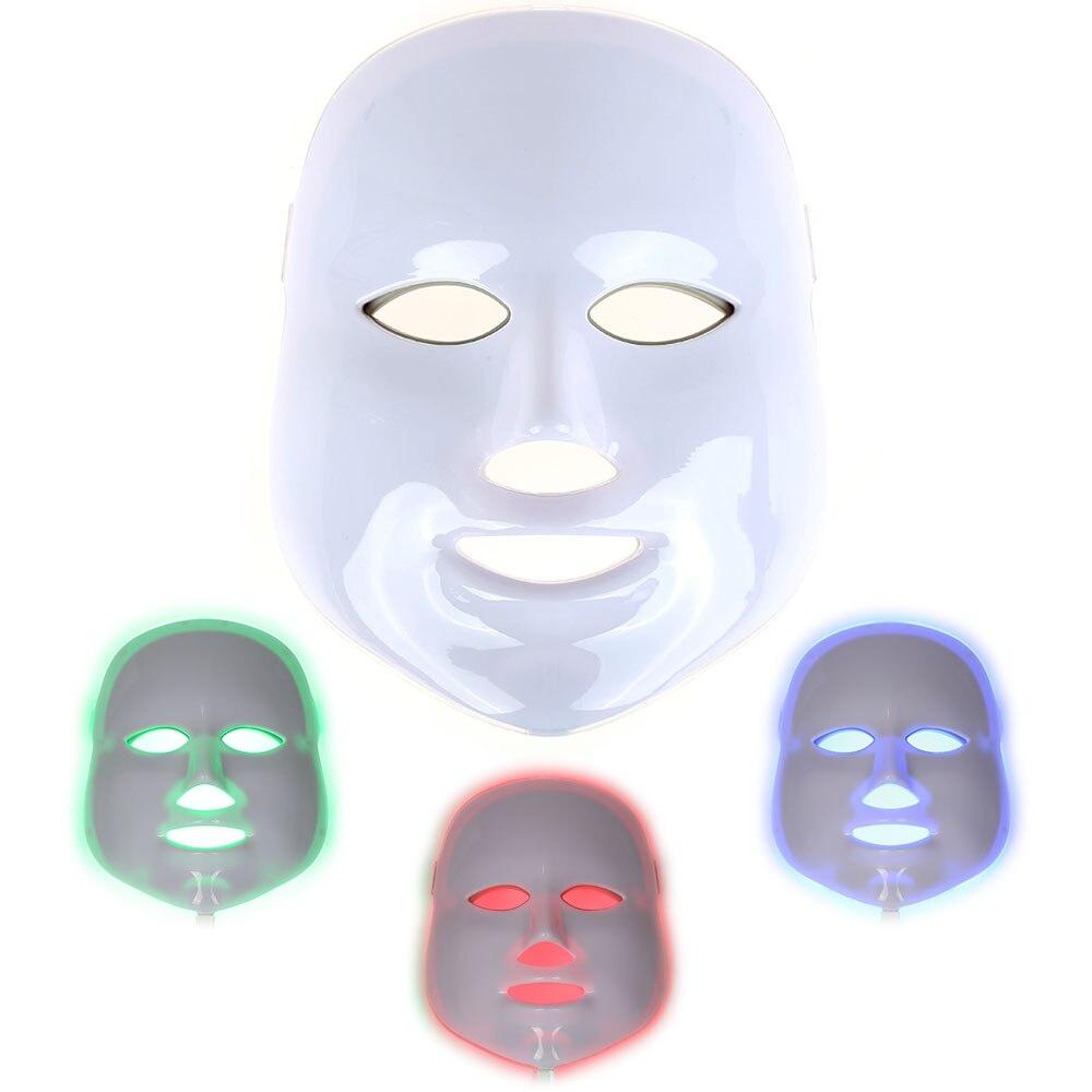 2017 Pro 3 Lights LED Photon Facial Mask Device Wrinkle Acne Removal Skin Rejuvenation Massage Anti-Aging Therapy Women Beauty