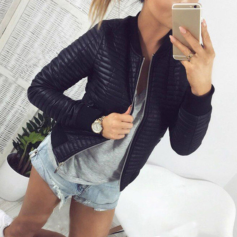 Spring Autumn Women Lady Thin   Jackets   Fashion   Basic   Bomber   Jacket   Long Sleeve Coat Casual Stand Collar Thin Slim Fit Outerwear