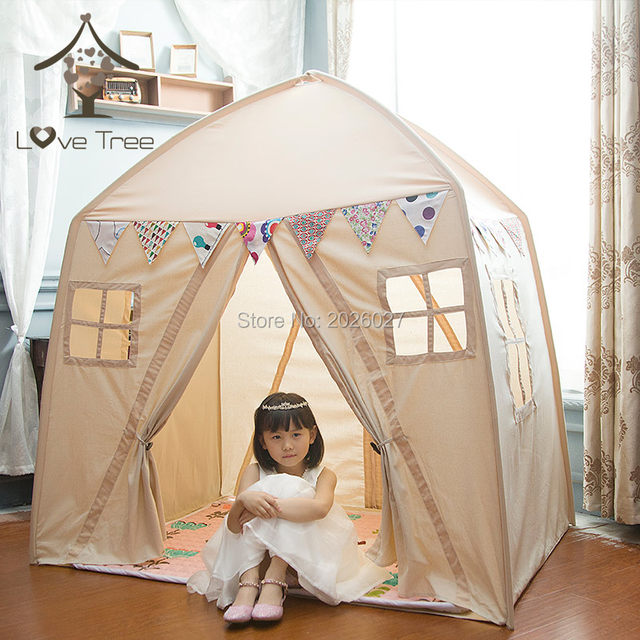 Love Tree Kid Play House Cotton Canvas Indoor Children Sleeping Tent Large House -- Beige House toy tent  sc 1 st  Aliexpress & Online Shop Love Tree Kid Play House Cotton Canvas Indoor Children ...