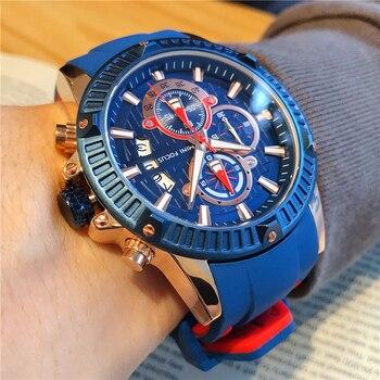 MEGIR Watch Luxury Blue Golden Sport Men Watch Top Brand Fashion  Casual Male's Wristwatch Waterproof Watches