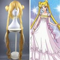 90 cm Tsukino Usagi gold pruik Sailor Moon Lange Gouden Blonde Paardenstaarten Cosplay Haar Volledige Pruiken